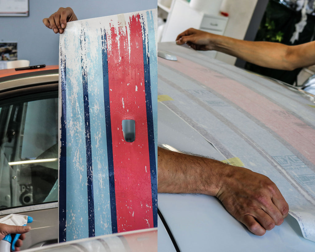 Scratched Martini Racing Stripes Installation / Application Process