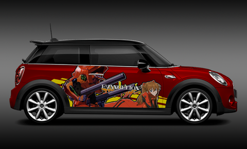 Evangelion Asuka Langley Itasha Design On Mini Cooper