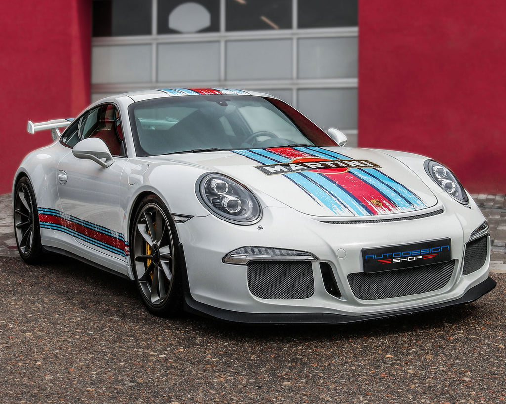 Scratched Martini Racing Stripes Finished Product Look on a Porsche