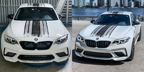 White BMW with Scratched Grayscale MARTINI Racing Stripes