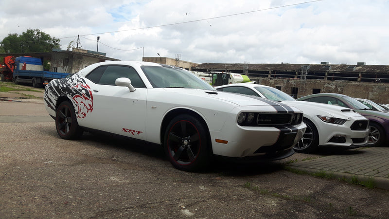 Dodge Challenger Hellcat shredded Graphic design for rear fenders Decals - autodesign.shop