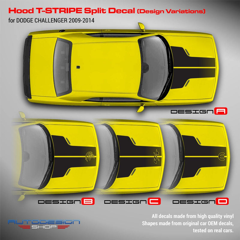 Dodge Challenger 2009 - 2018 Hood T-Stripe Split Decal
