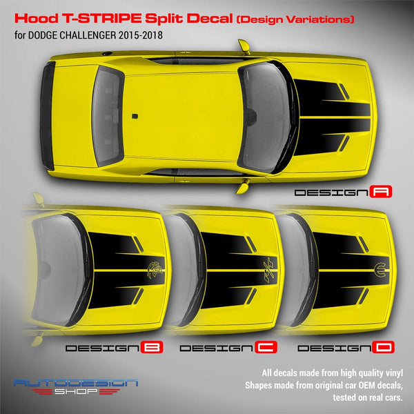 Dodge Challenger 2015 2016 2017 2018 2019 Hood T-Stripe Split Decal