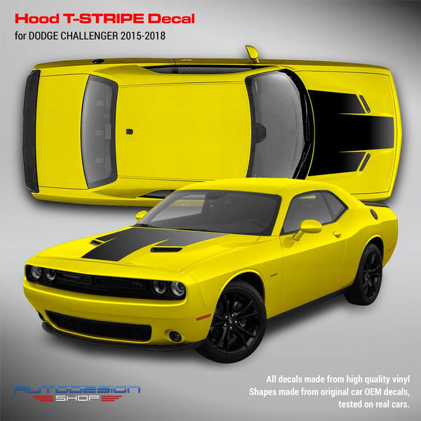 Dodge Challenger 2015 2016 2017 2018 Hood T-Stripe Decal