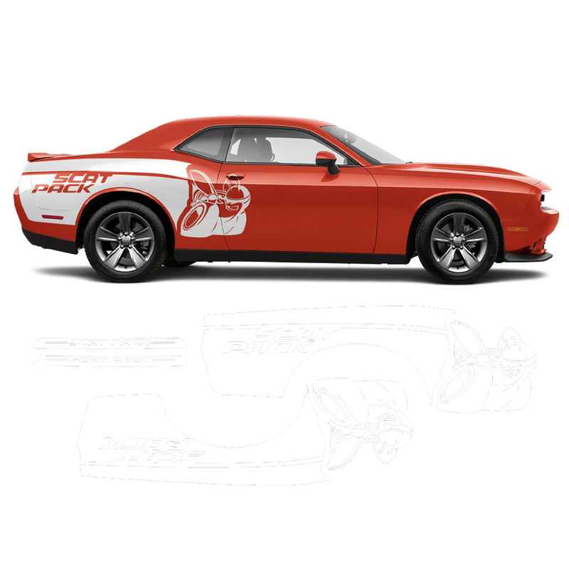 SCAT PACK rear fender graphics, Dodge Challenger 2008 - 2020 black