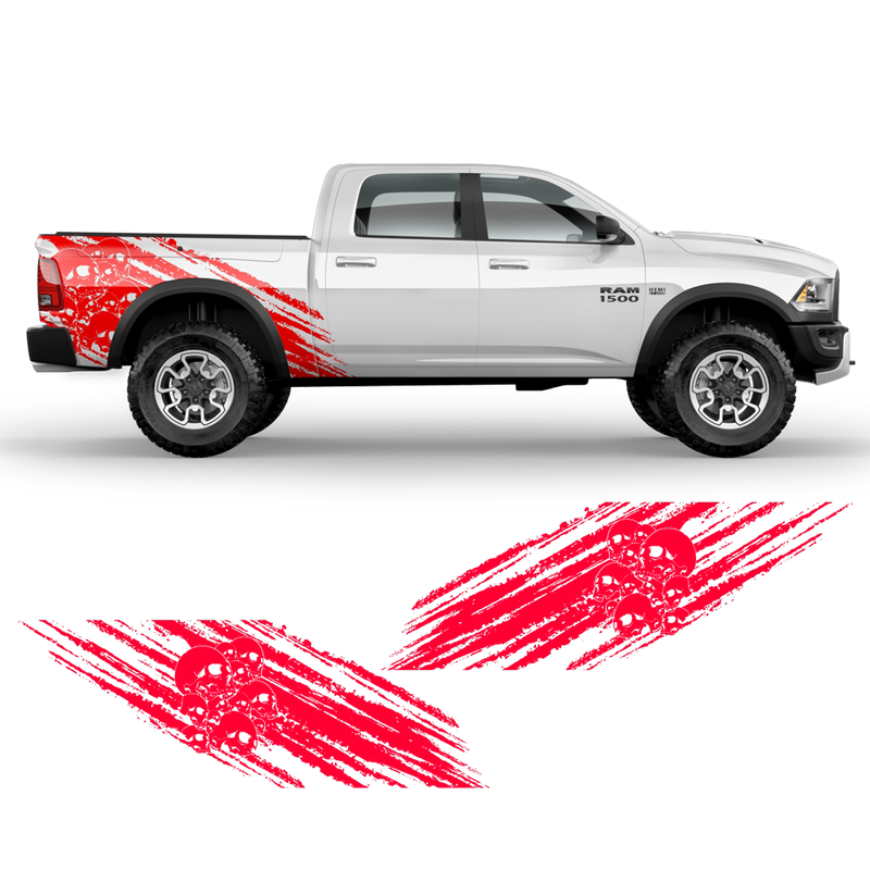 Skull Scratched side graphic, Dodge RAM (fit any truck) black