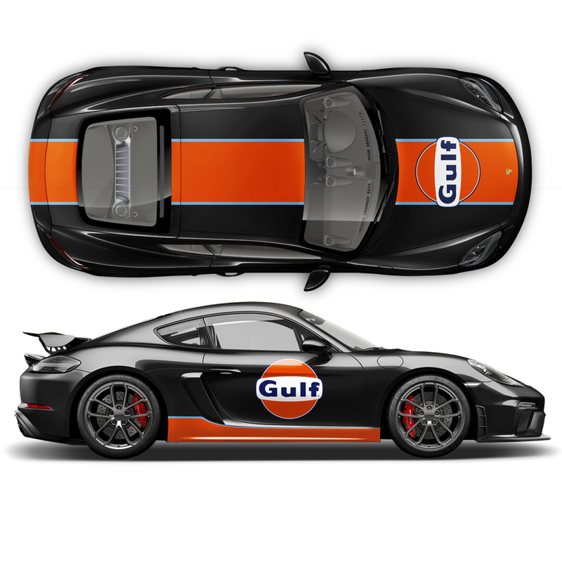 GULF Le Mans RACING STRIPES  Set and logos, Cayman / Boxster Light Blue / Orange