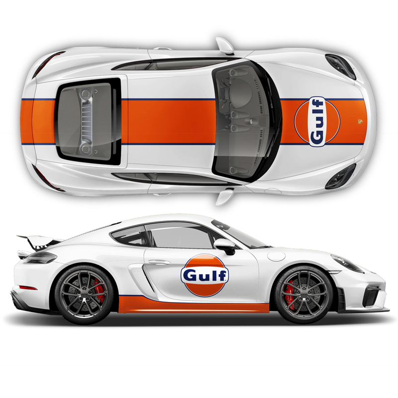 GULF Le Mans RACING STRIPES  Set and logos, Cayman / Boxster Midnight Blue / Orange
