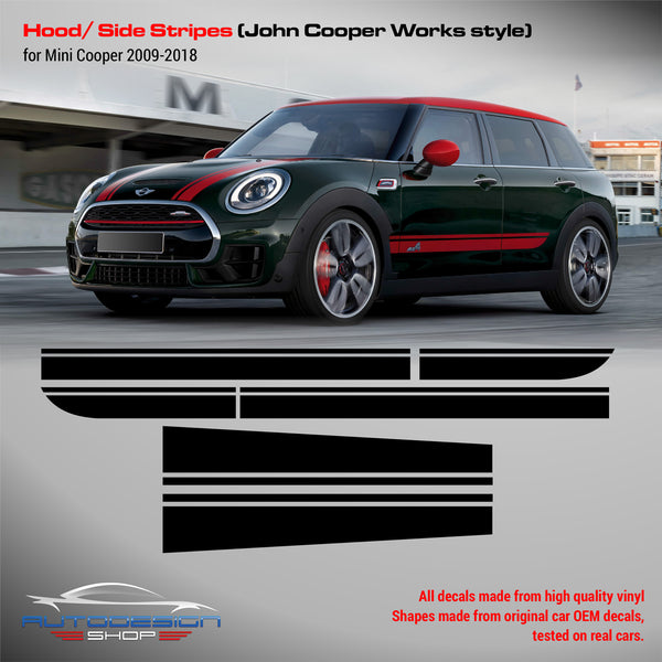 Mini John Cooper Works style hood/side Stripes Decals