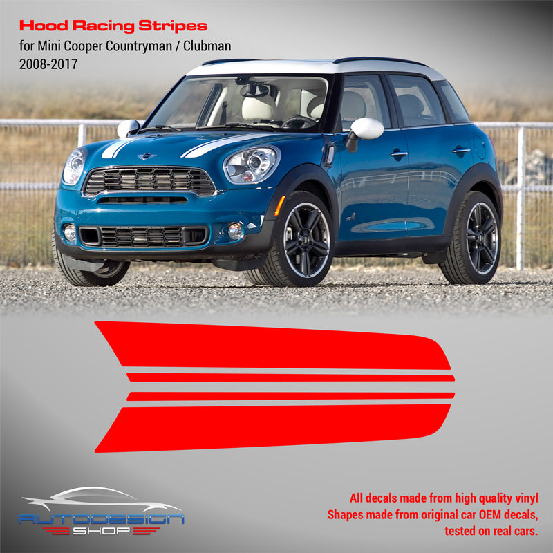 Mini Cooper 2008 - 2017 Clubman / Countryman Hood Racing Stripes Design #2