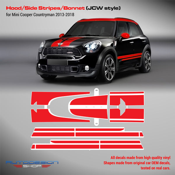 Mini Cooper JCW Coutryman 2013 2014 2015 2016 2017 2018 decal set for Hood Side Trunk