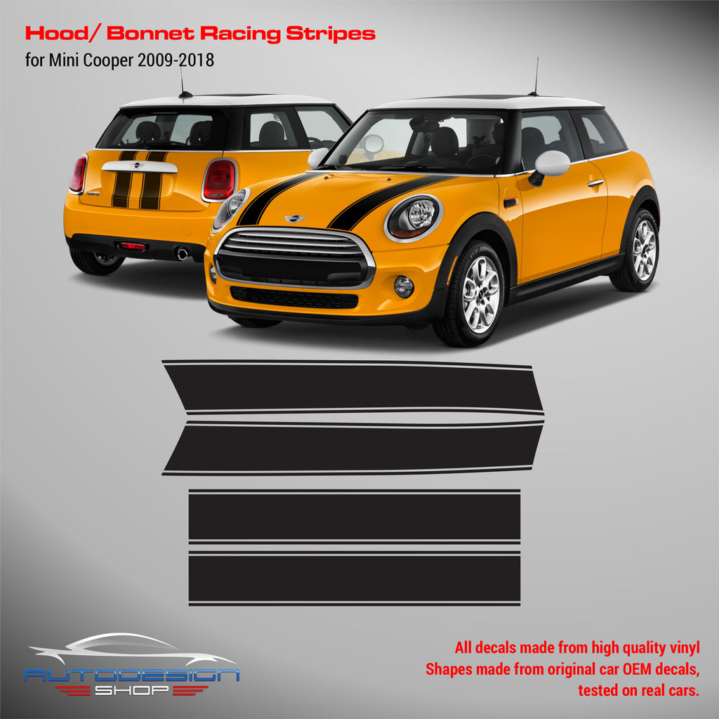 Mini cooper hood stripes bonnet and trunk decals