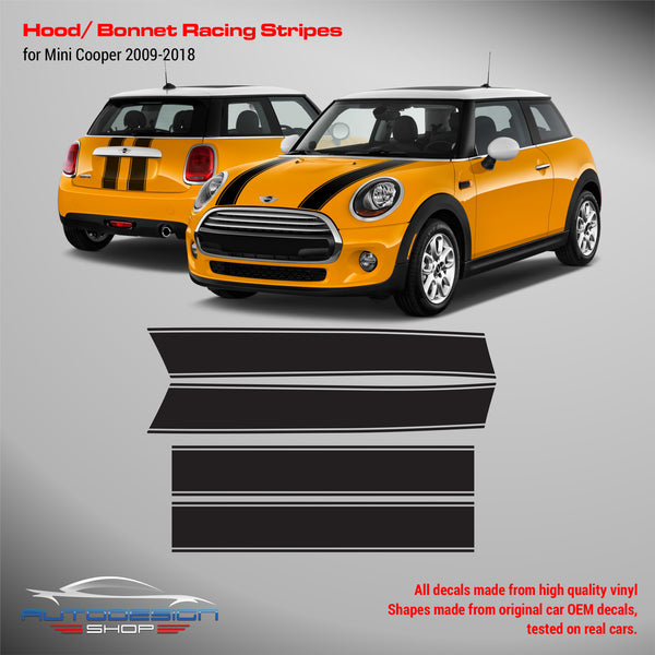 Mini Cooper 2009-2018 Hood Bonnet and Trunk Racing Stripes Decals