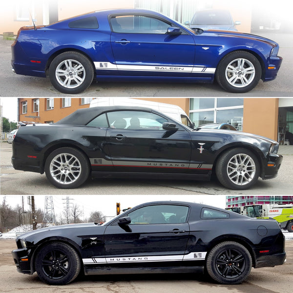 Ford Mustang 2005 2006 2007 2008 2009 2010 2011 2012 2013 2014 Side Rocker Panel Stripes Decals Style02 SALEEN Decals - autodesign.shop