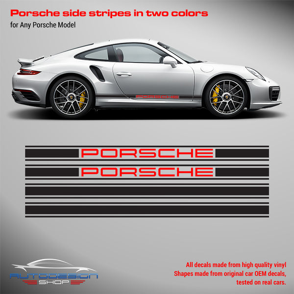 Porsche Rocker Panel decal set 2 Colors for Carrera