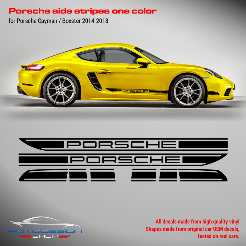 Porsche Cayman / Boxster 2014 - 2018 rocker panel graphics set in one color