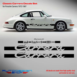 Classic Carrera Decals Set for Porsche 1972 - 1987