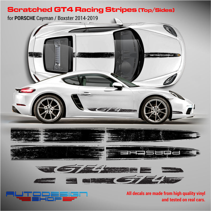 Scratched GT4 Racing Stripes for Cayman / Boxster 2005 - 2019