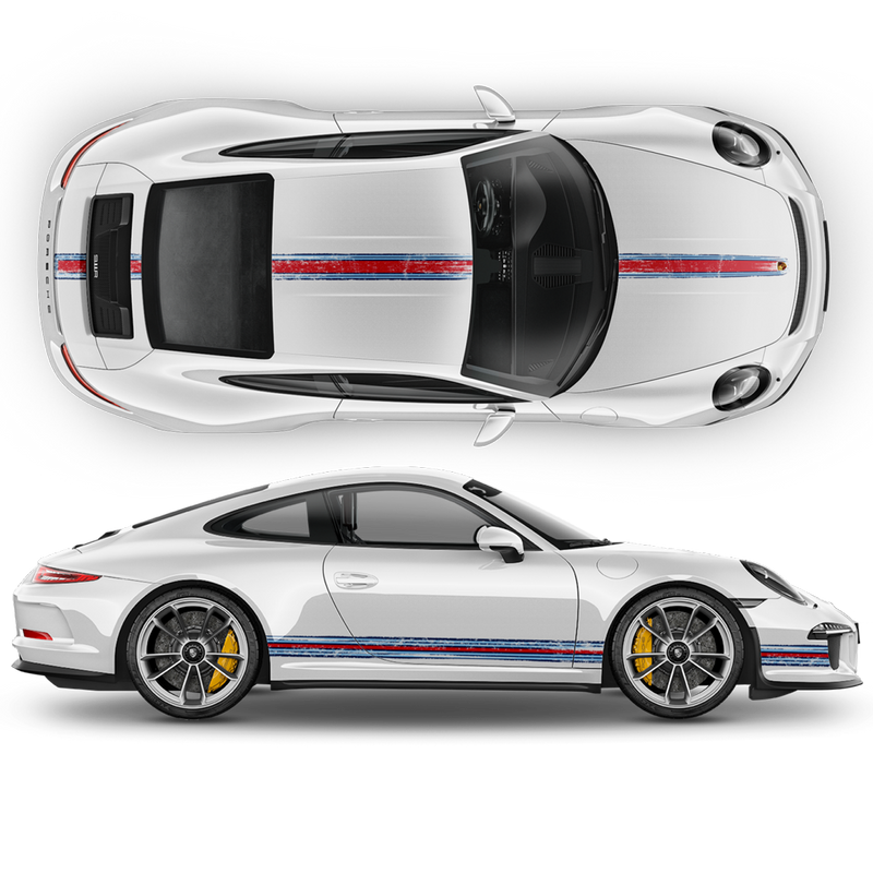 Scratched THIN Martini Racing stripes kit, Carrera / Cayman / Boxster Martini Regular