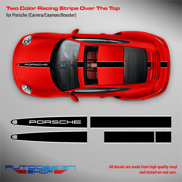 Two Colors Porsche Racing Stripes Over The Top for Carrera / Cayman / Boxster