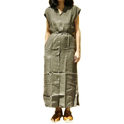 Xacus Olive Linen Sleeveless Dress ; 6411