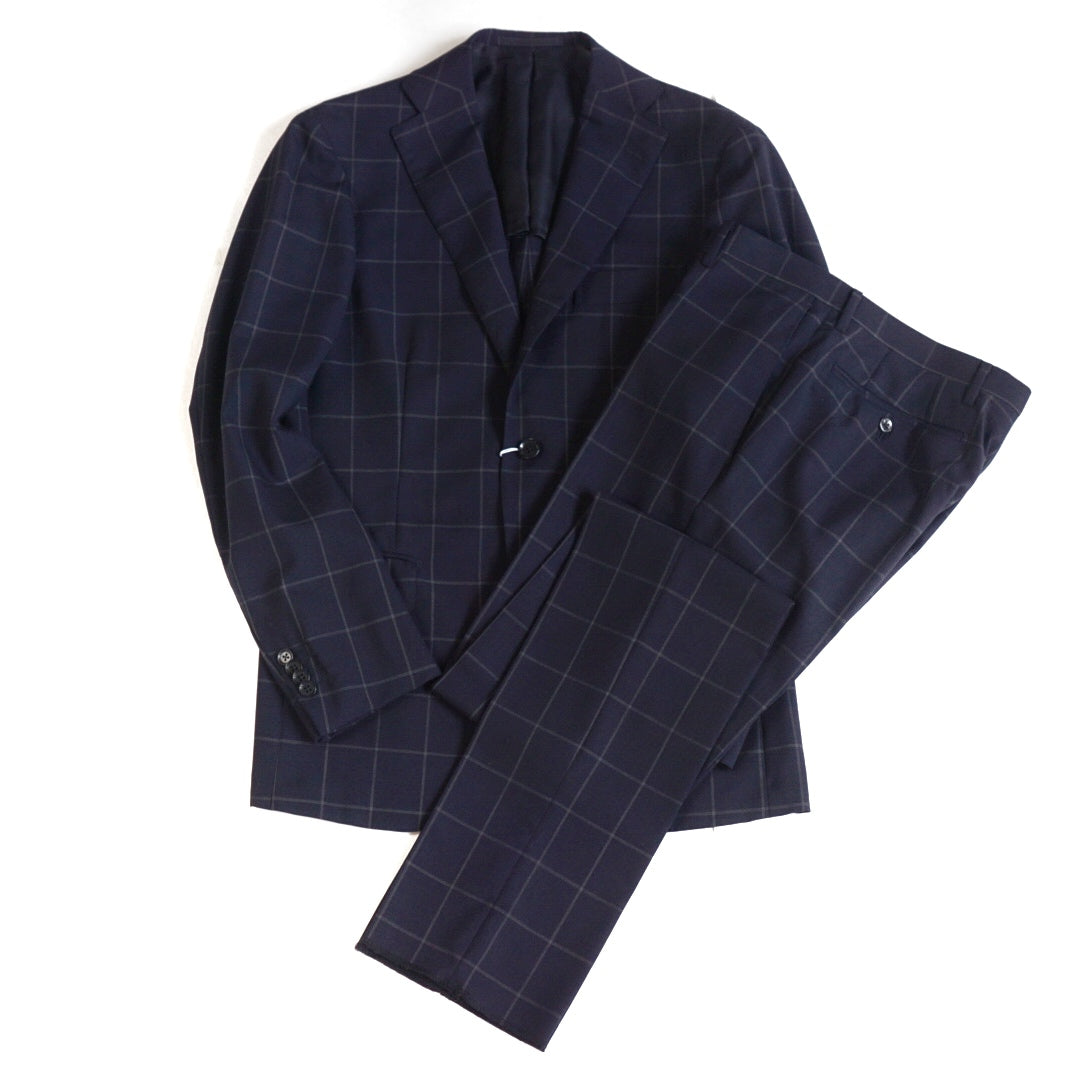 Ring Jacket Navy Check Wool Suit