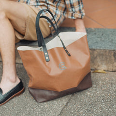 COLONY CLOTHING Brown Canvas Tote Bag