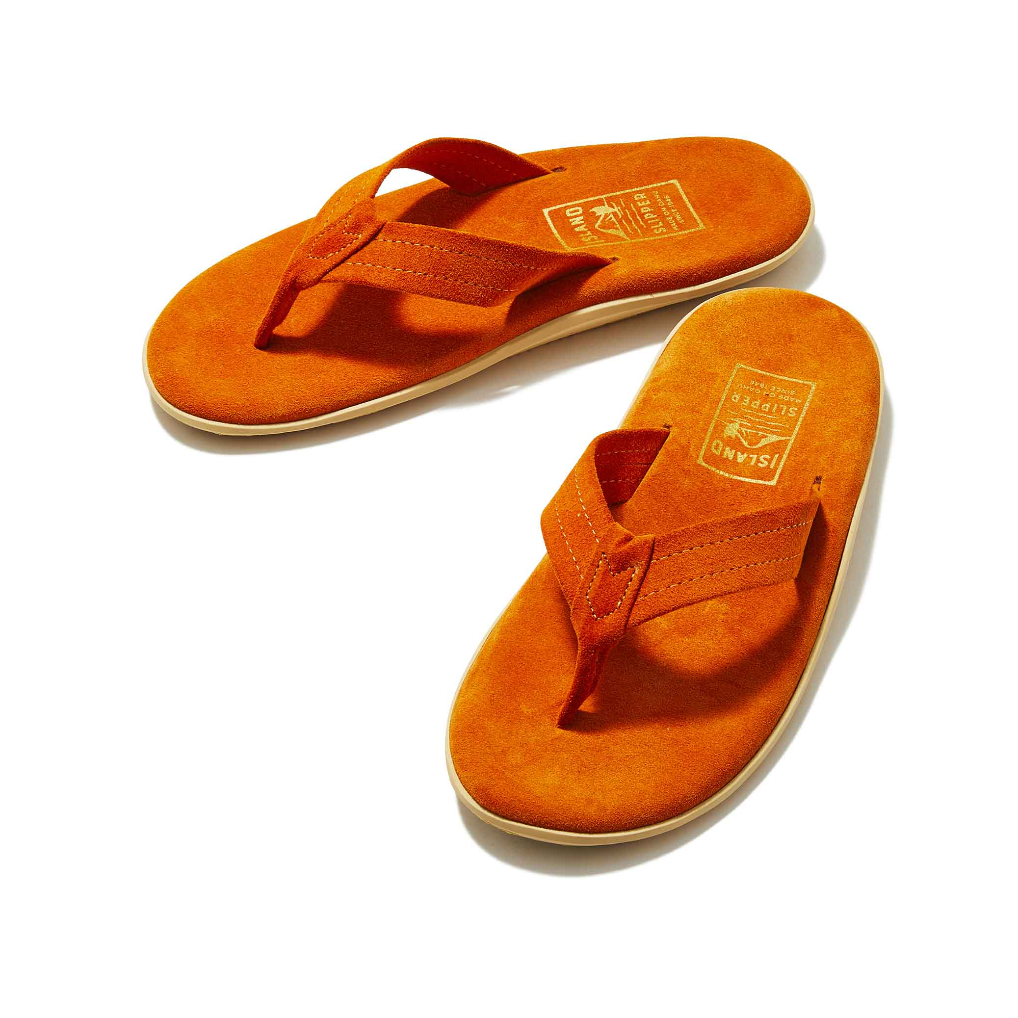 Island Slipper Pre-Order; Classic Suede Orange Thong