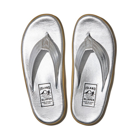 Island Slipper Pre-Order; Classic Silver Leather Thong