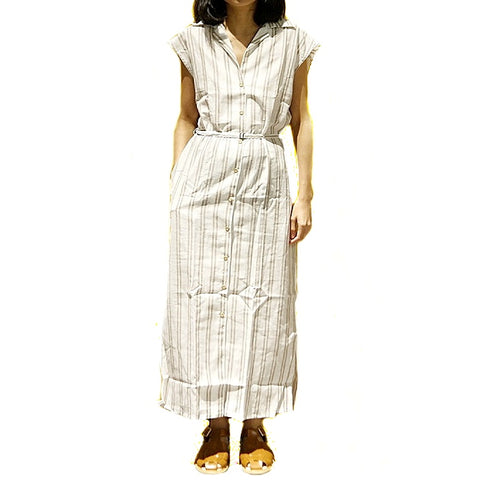 Xacus Beige Stripe Sleeveless Dress ; 6416