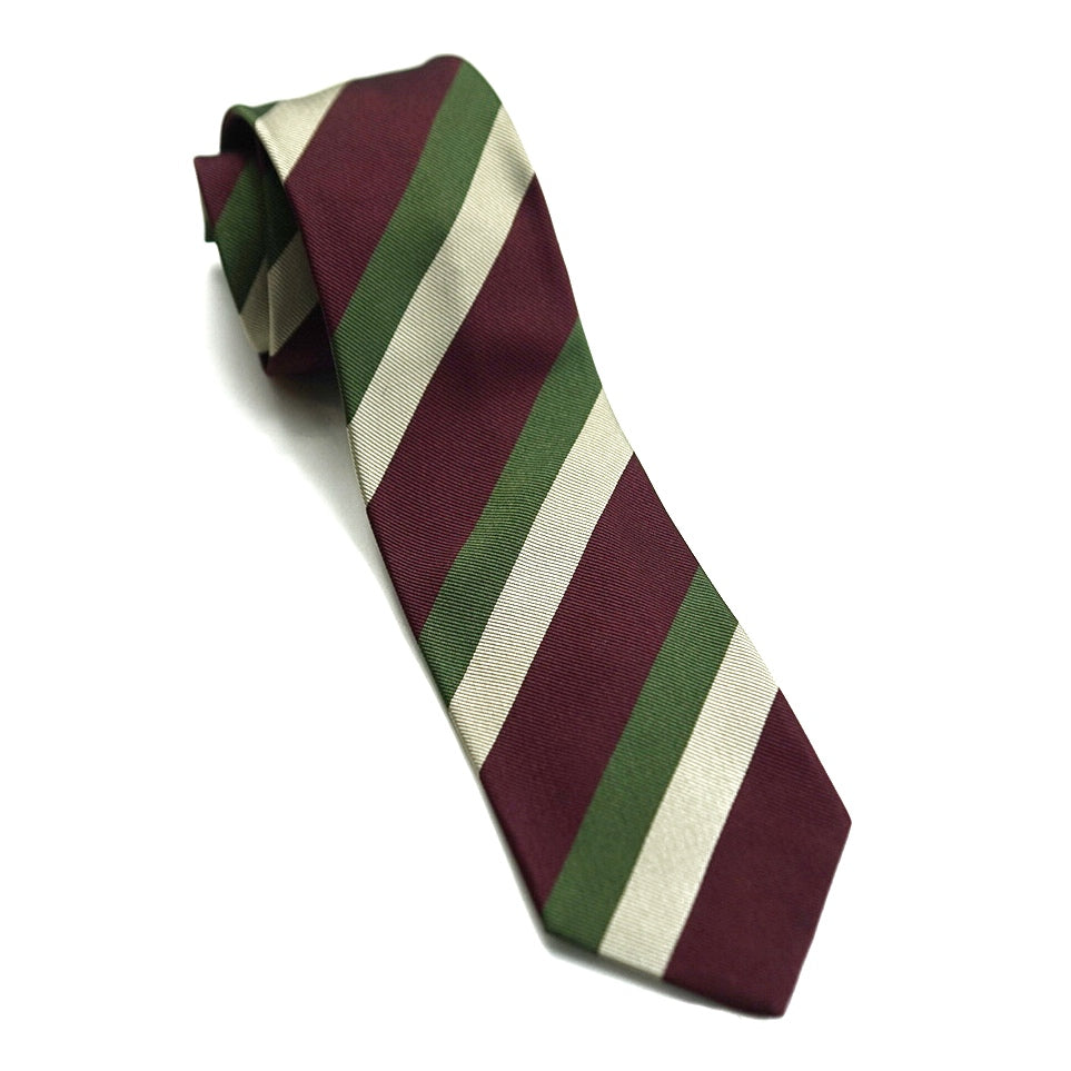Drakes Tie - Green/Red Stripes