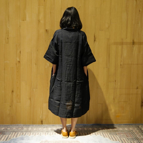 Xacus Black Linen Kaftan Dress ; 6410