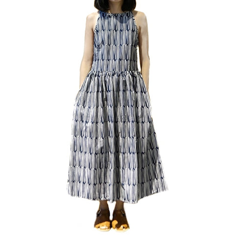 Xacus Blue Patterned Sleeveless Dress