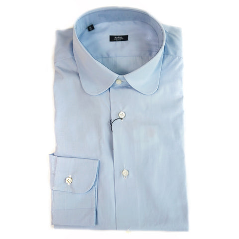 Barba Blue Round Collar Dress Shirt
