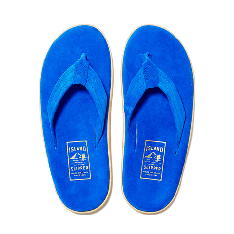 Island Slipper Pre-Order; Classic Suede Electric Blue Thong