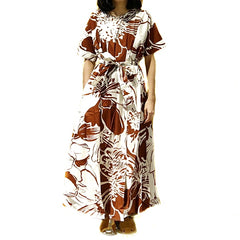 Xacus Brown Waist Tie Floral Dress ; 6408