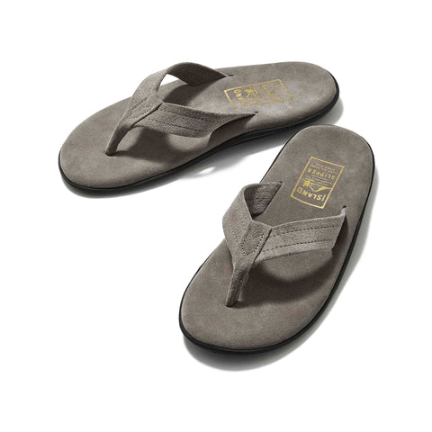Island Slipper Classic Suede Charcoal Thong Sandals