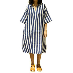 Xacus Linen Blue Stripe Kaftan Dress ; 6410