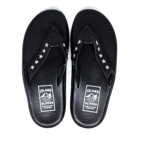 Island Slipper Black Leather Thong Sandals with Star Studs