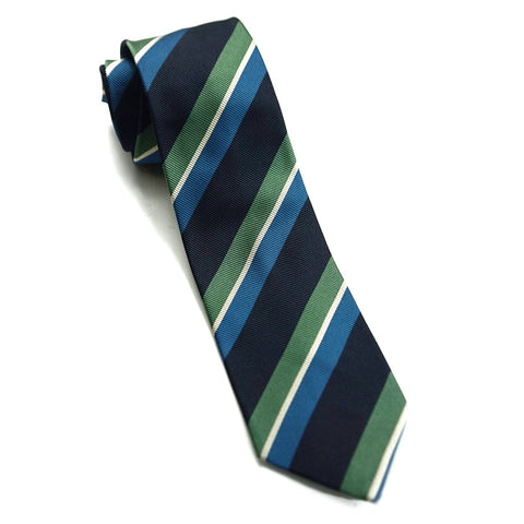 Drakes Tie - Green/Blue Stripe