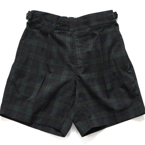 COLONY CLOTHING / POOL SIDE SHORTS Black Watch Seersucker  / CC20-SW03