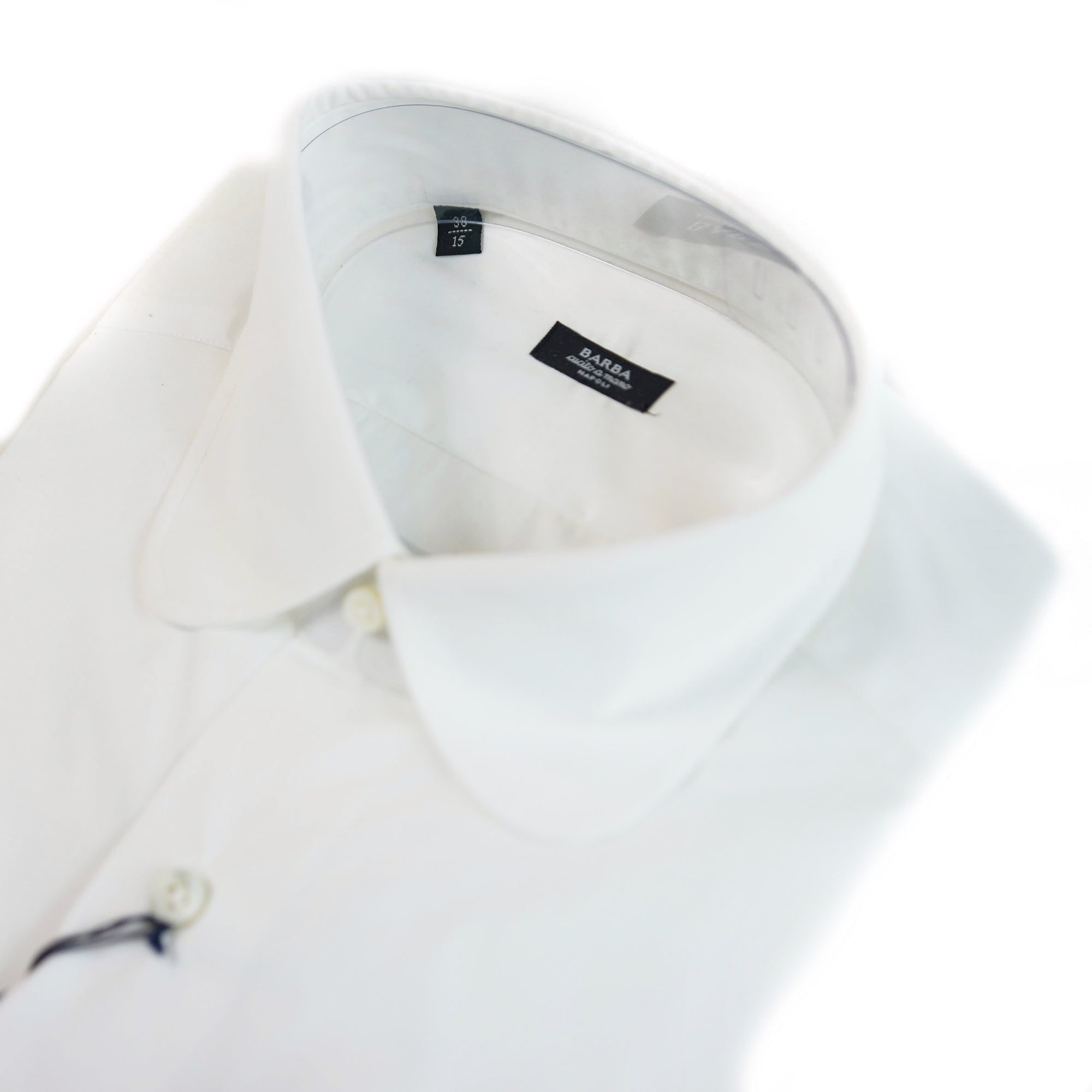 Barba White Round Collar Dress Shirt
