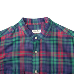 Salvatore Piccolo ; Multicoloured Mandarin Collar Checkered Shirt ; LS75-CU,V12
