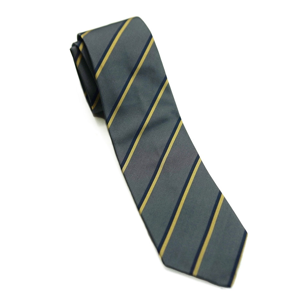 Drakes Tie - Yellow Stripe On Grey