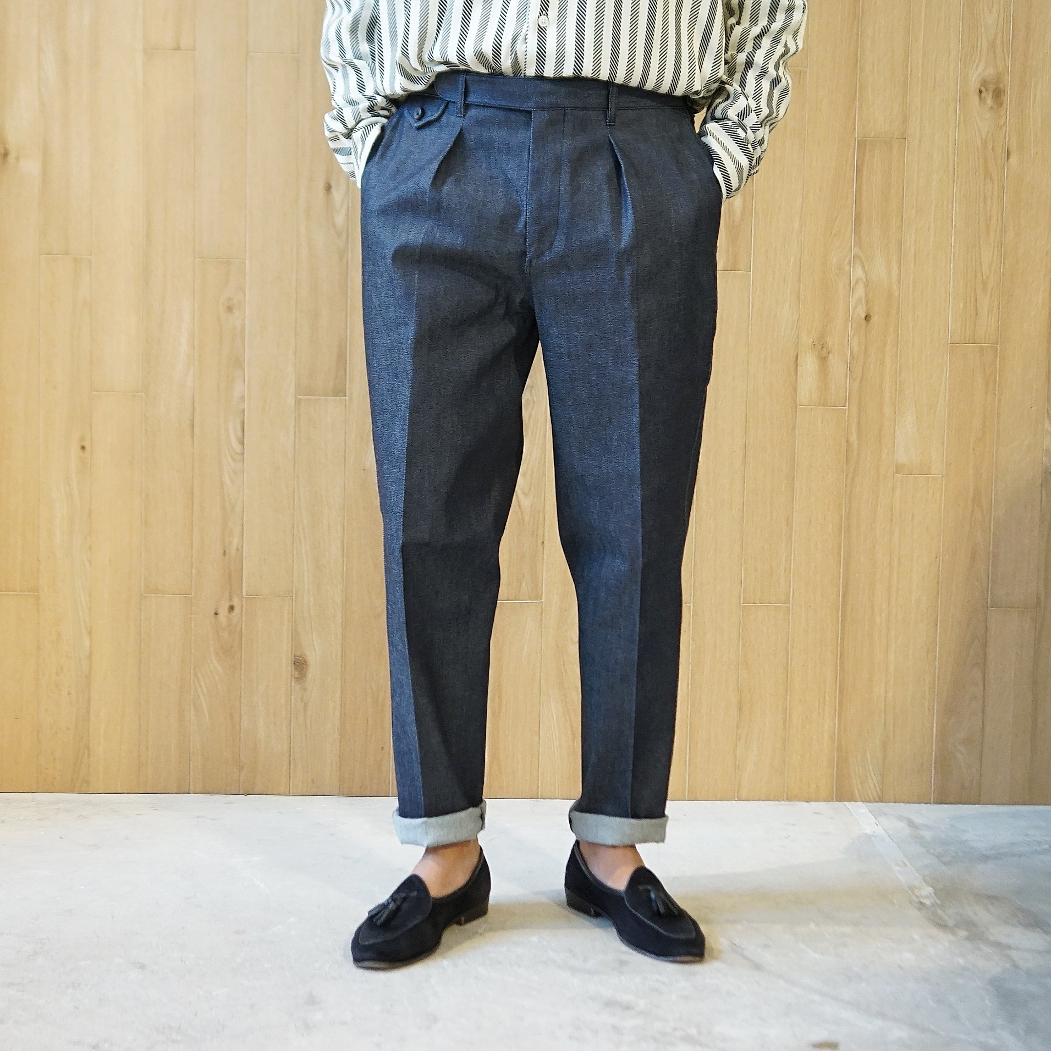 COLONY CLOTHING / DENIM ONE PLEATED PERENNIAL TROUSERS / CC20FW-PT05