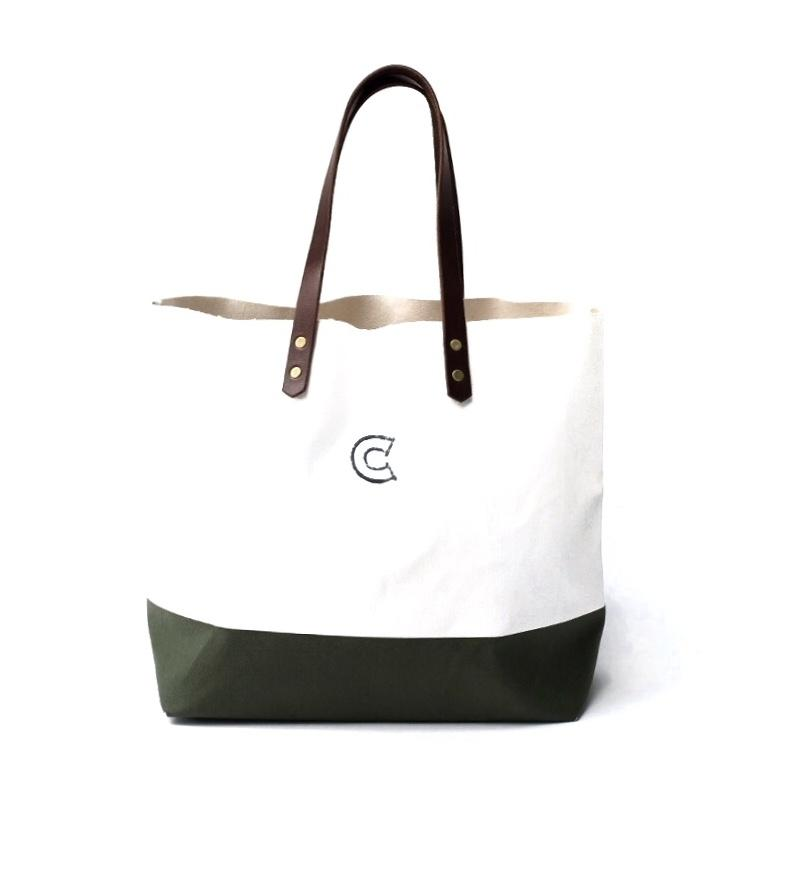 COLONY CLOTHING White Green Canvas Tote Bag