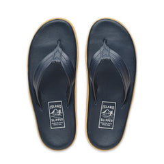 Island Slipper Classic Leather Navy Thong Sandals