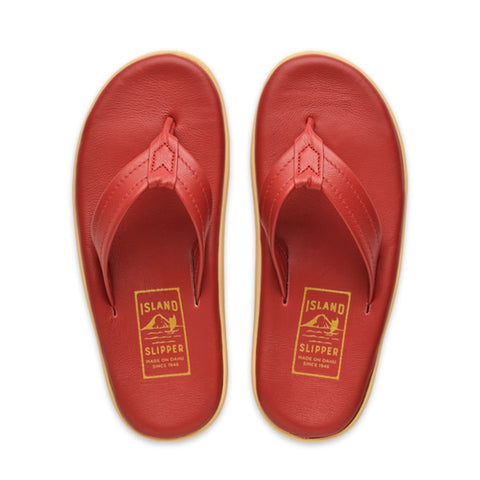 Island Slipper Pre-Order; Classic Red Leather Thong