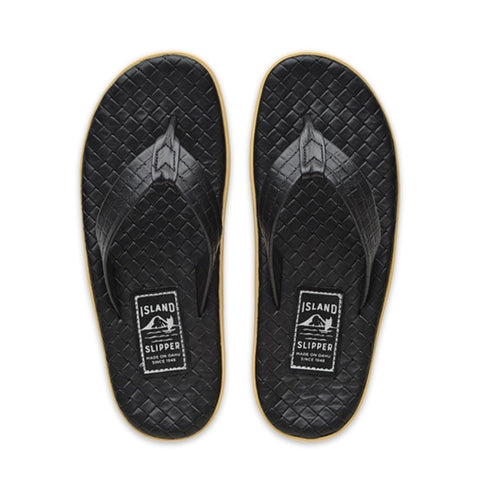 Island Slipper Pre-Order; Italian Weave Black Thong Sandals