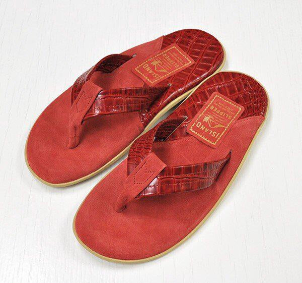 Island Slipper Pre-Order; Two Tone Leather Red Thong